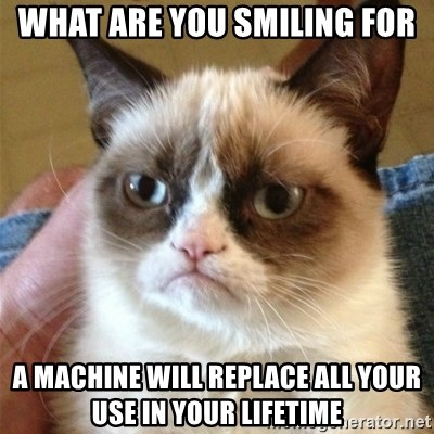 Grumpy Cat  - WHAT ARE YOU SMILING FOR A MACHINE WILL REPLACE ALL YOUR USE IN YOUR LIFETIME