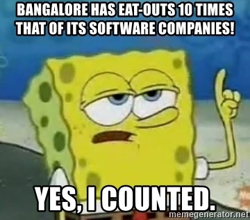 Tough Spongebob - BANGALORE HAS EAT-OUTS 10 TIMES THAT OF ITS SOFTWARE COMPANIES! YES, I COUNTED.