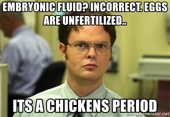 Dwight Meme - EMBRYONIC FLUID? INCORRECT. EGGS ARE UNFERTILIZED.. ITS A CHICKENS PERIOD