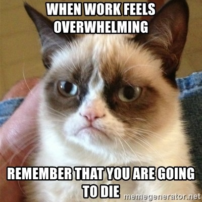 Grumpy Cat  - When work feels overwhelming remember that you are going to die