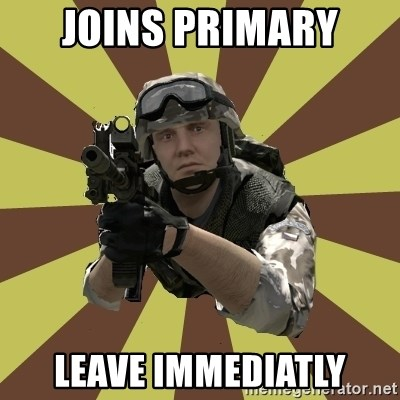 Arma 2 soldier - Joins primary leave immediatly
