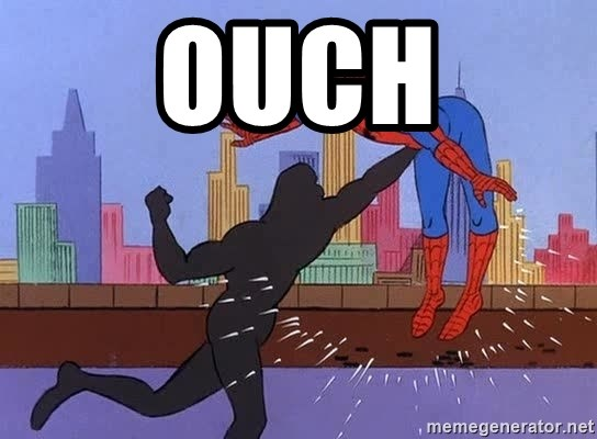 crotch punch spiderman - OUCH