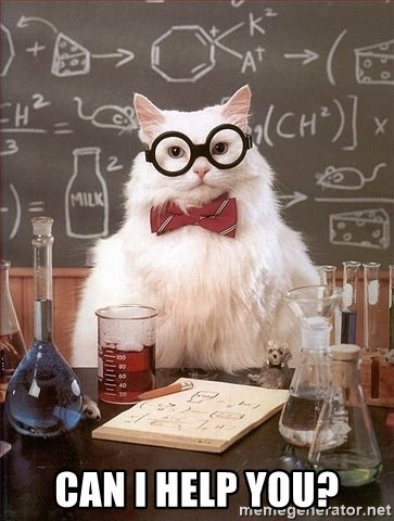 Chemist cat -  CAN I HELP YOU?