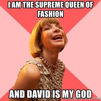 Amused Anna Wintour - I am the supreme queen of fashion and David is my God