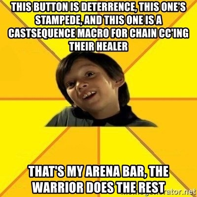 es bakans - this button is deterrence, this one's stampede, and this one is a castsequence macro for chain cc'ing their healer that's my arena bar, the warrior does the rest