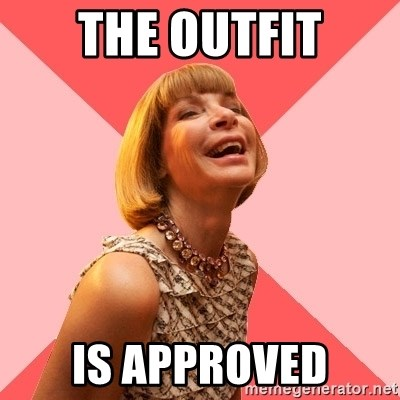 Amused Anna Wintour - The outfit is approved