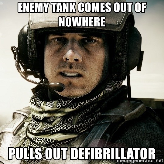 battlefield3butthurt - enemy tank comes out of nowhere pulls out defibrillator