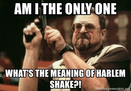 Am i the only one what's the meaning of harlem shake