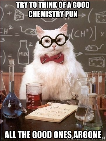 Chemistry Cat - try to THINK oF a good chemistry pun all the good ones argone