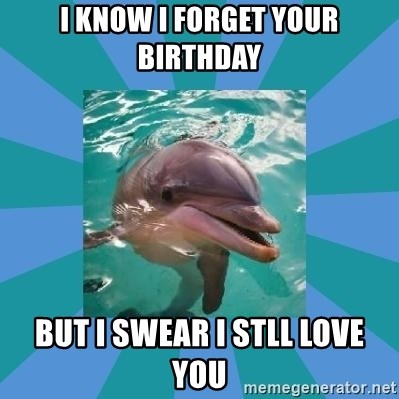 Dyscalculic Dolphin - I know i forget your birthday but I swear I stll love you