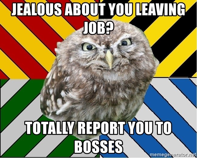 JEALOUS POTTEROMAN - Jealous about you LEaving job? Totally report you to bosses