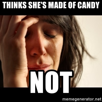 crying girl sad - THINKS SHE'S MADE OF CANDY NOT