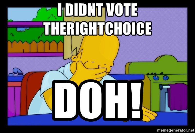 Homer Facepalm - I Didnt Vote TheRightChoice Doh!