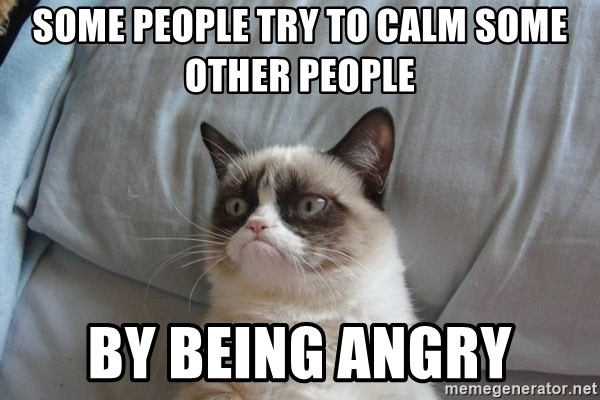 Grumpy cat good - some people try to calm some other people by being angry