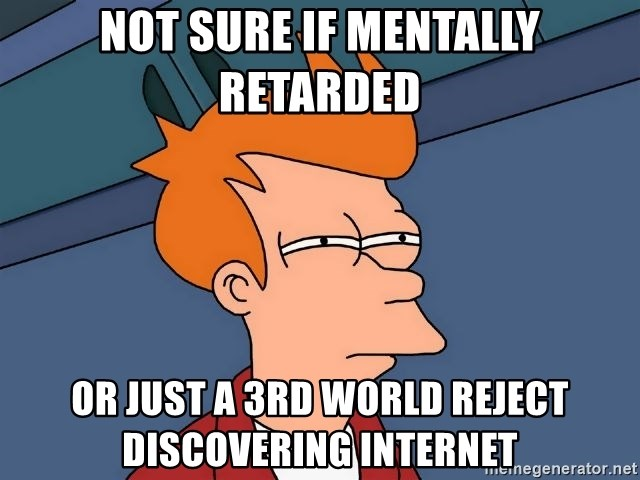 Futurama Fry - NOT SURE IF MENTALLY RETARDED OR JUST A 3RD WORLD REJECT  DISCOVERING INTERNET