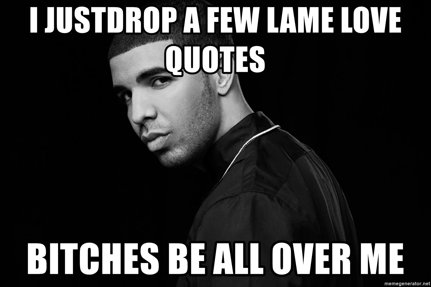 Quotes About Bitches I Justdrop A Few Lame Love Quotes Bitches Be All Over Me  Drake