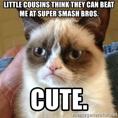 Grumpy Cat  - Little cousins think they can beat me at super smash bros. Cute.