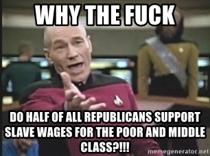 Picard Wtf - WHY THE FUCK DO HALF OF ALL REPUBLICANS SUPPORT SLAVE WAGES FOR THE POOR AND MIDDLE CLASS?!!!
