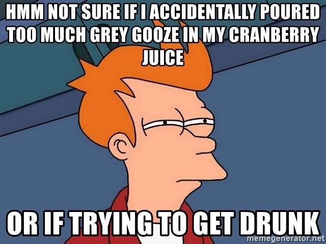 Futurama Fry - Hmm Not sure if I accidentally poured too much Grey Gooze In my Cranberry Juice Or If trying to get drunk