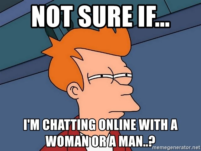 Futurama Fry - not sure if... i'm chatting online with a woman or a man..?