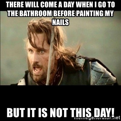 There will come a day but it is not this day - There will come a day when i go to the bathroom before painting my nails but it is not this day!