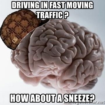 Scumbag Brain - Driving in Fast moving traffic ? How about a sneeze?