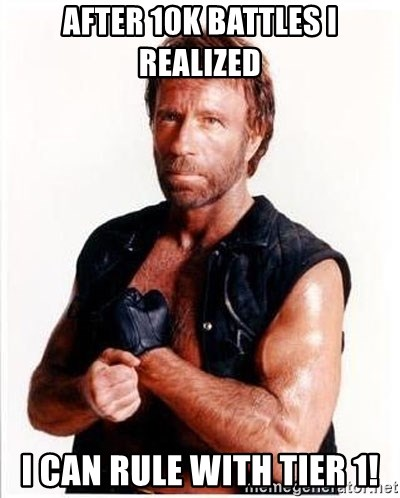 Chuck Norris  - After 10k battles i realized I can rule with tier 1!