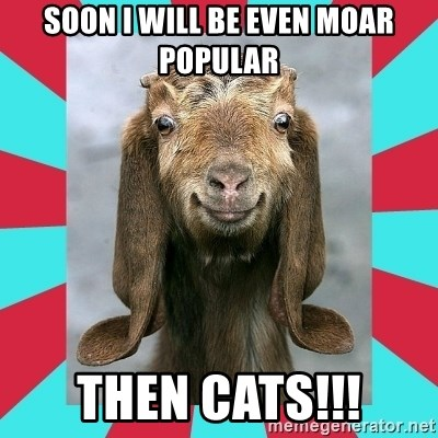 Gloating Goat - SOON I WILL BE EVEN MOAR POPULAR tHEN CATS!!!