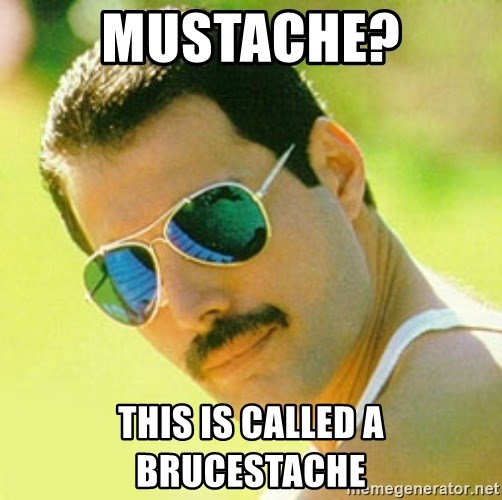typical Queen Fan - mustache? this is called a brucestache