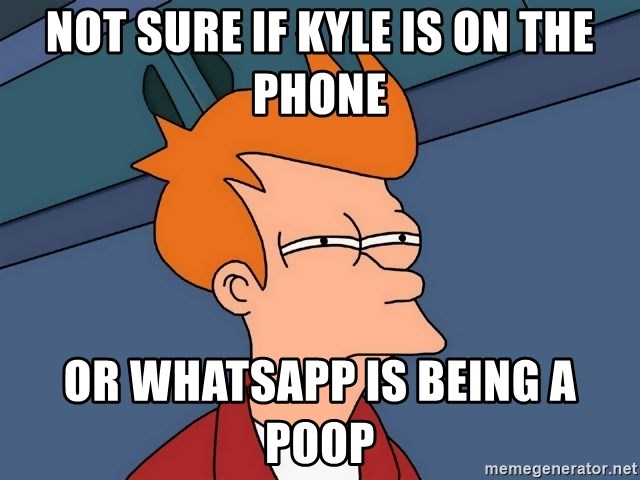 Futurama Fry - not sure if kyle is on the phone or whatsapp is being a poop