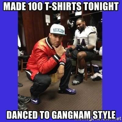 PAY FLACCO - Made 100 T-shirts tonight Danced to Gangnam style