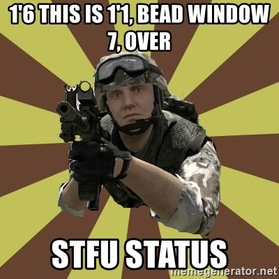 Arma 2 soldier - 1'6 This Is 1'1, BEAD WINDOW 7, OVER STFU Status