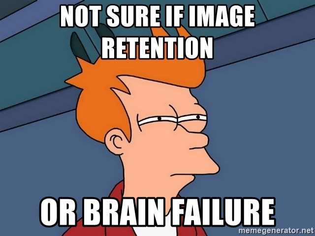 Futurama Fry - not sure if image retention or brain failure