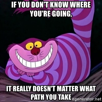 CHESHIRE CAT  - If you don't know where you're going, It really doesn't matter what path you take