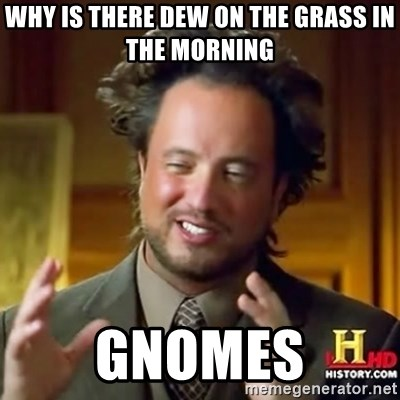 ancient alien guy - Why is there Dew on the grass in the morning Gnomes