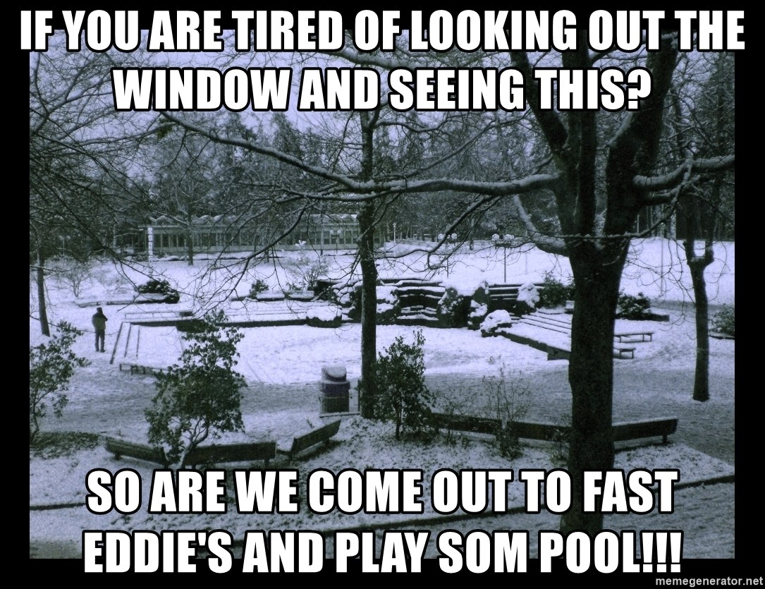 UVIC SNOWDAY - if you are tired of looking out the window and seeing this? So are we come out to fast eddie's and play som pool!!!