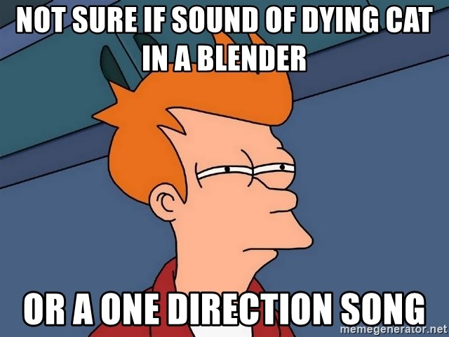 Futurama Fry - Not sure if sound of dying cat in a blender or a one direction song