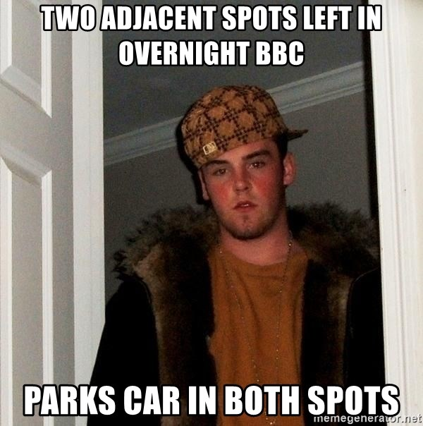 Scumbag Steve - Two Adjacent spots left in oVeRNIGHT BBC Parks car in both spots