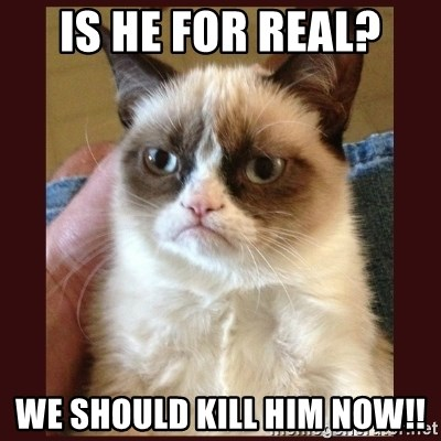 Tard the Grumpy Cat - Is he for real? We should kill him now!!