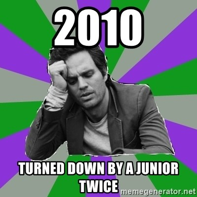 Forever Alone Bruce - 2010 turned down by a junior twice