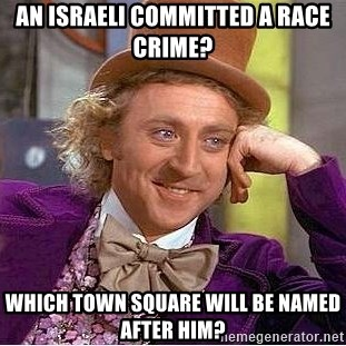 Willy Wonka - an israeli committed a race crime? which town square will be named after him?