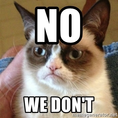 Grumpy Cat  - NO  WE DON'T