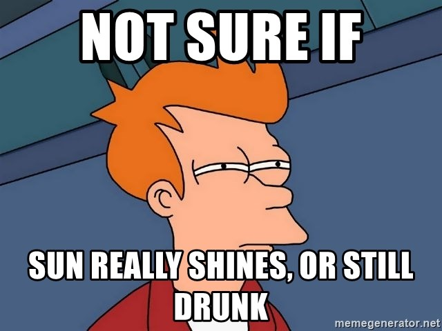 Futurama Fry - Not sure if sun really shines, or still drunk