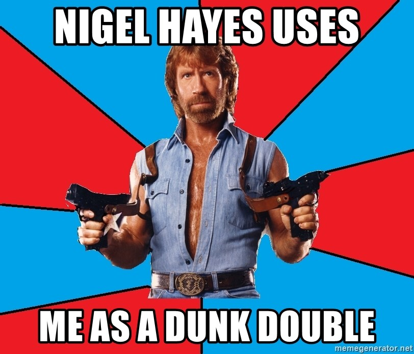 Chuck Norris  - Nigel hayes uses me as a dunk double