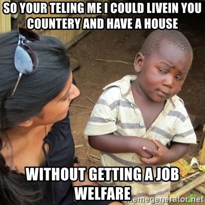 Skeptical 3rd World Kid - so your teling me i could livein you countery and have a house  without getting a job welfare