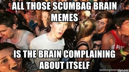 -Sudden Clarity Clarence - All those scumbag brain memes is the brain complaining about itself