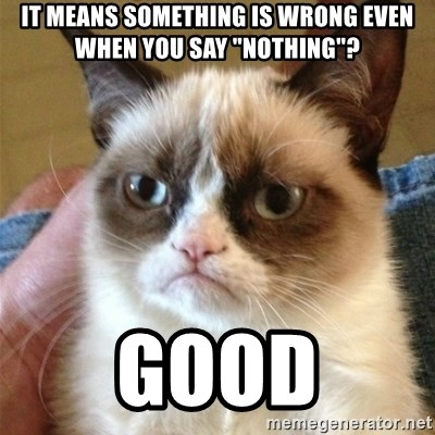 """Grumpy Cat  - it means something is wrong even when you say """"nothing""""? good"""