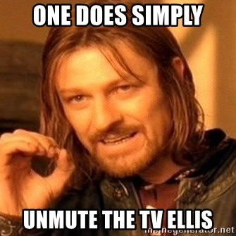 One Does Not Simply - one does simply unmute the tv ellis