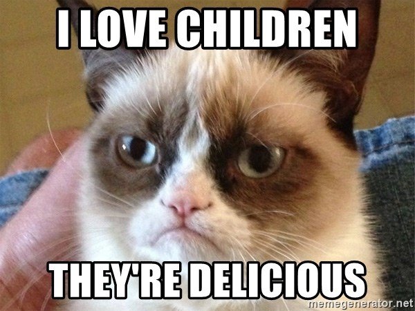 Angry Cat Meme - I love children they're delicious