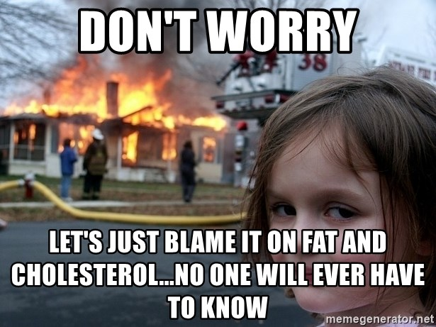 Disaster Girl - Don't worry Let's just blame it on Fat and cholesterol...no one will ever have to know